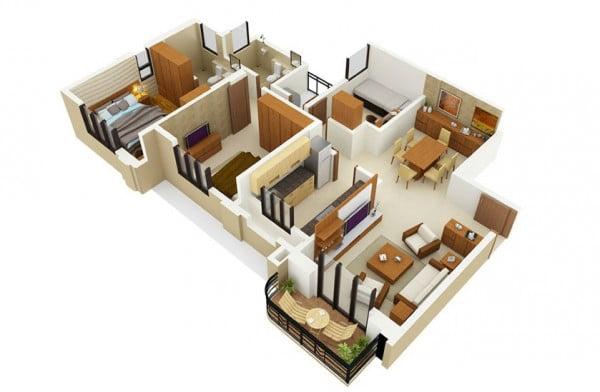 Mẫu thiết kế chung cư 3 phòng ngủ hiện đại sang trọng nhất 13