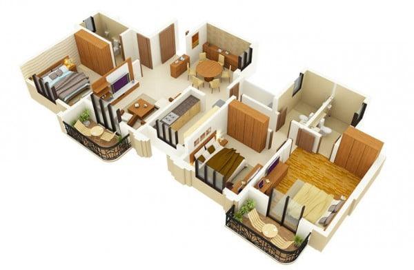 Mẫu thiết kế chung cư 3 phòng ngủ hiện đại sang trọng nhất 14