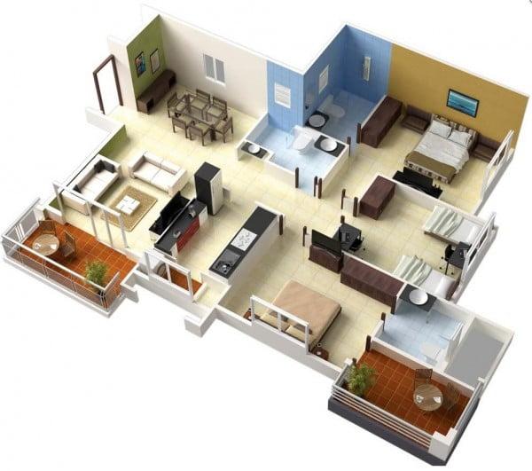 Mẫu thiết kế chung cư 3 phòng ngủ hiện đại sang trọng nhất 15