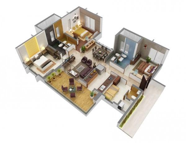 Mẫu thiết kế chung cư 3 phòng ngủ hiện đại sang trọng nhất 16