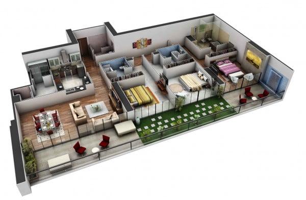 Mẫu thiết kế chung cư 3 phòng ngủ hiện đại sang trọng nhất 3