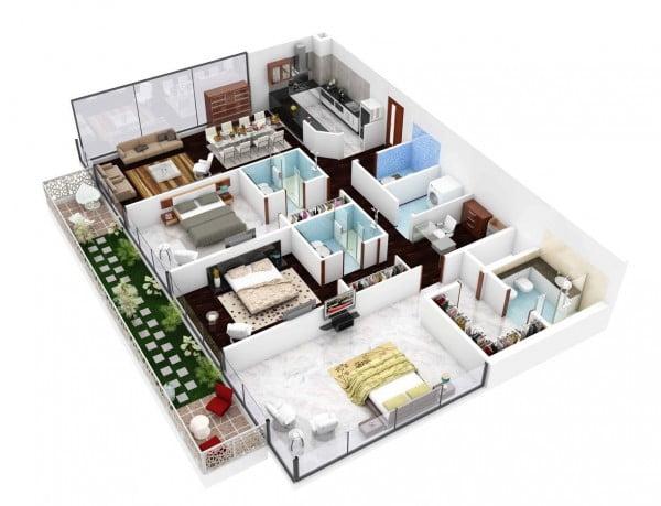 Mẫu thiết kế chung cư 3 phòng ngủ hiện đại sang trọng nhất 4