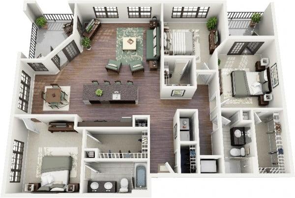 Mẫu thiết kế chung cư 3 phòng ngủ hiện đại sang trọng nhất 8
