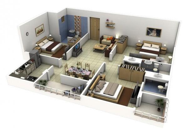 Mẫu thiết kế chung cư 3 phòng ngủ hiện đại sang trọng nhất 9