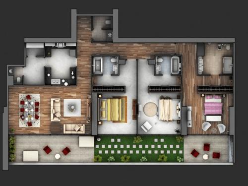 15 Mẫu thiết kế chung cư 3 phòng ngủ hiện đại sang trọng nhất