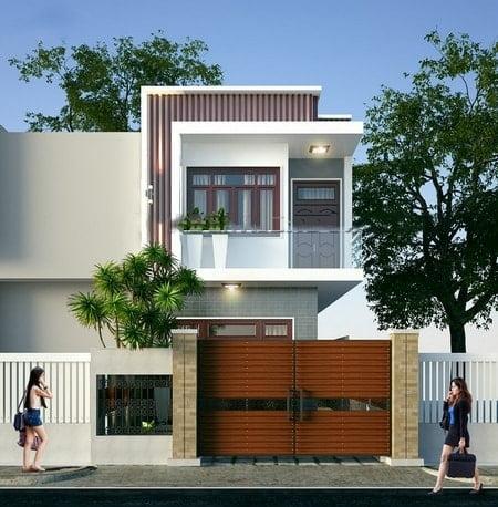 mẫu thiết kế nhà 2 tầng mặt tiền 6m 25