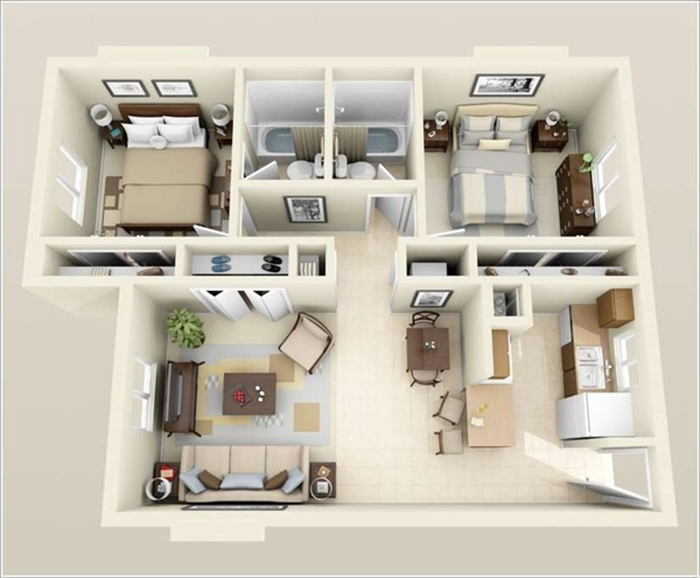 mẫu thiết kế nhà ống 1 tầng 2 phòng ngủ 10