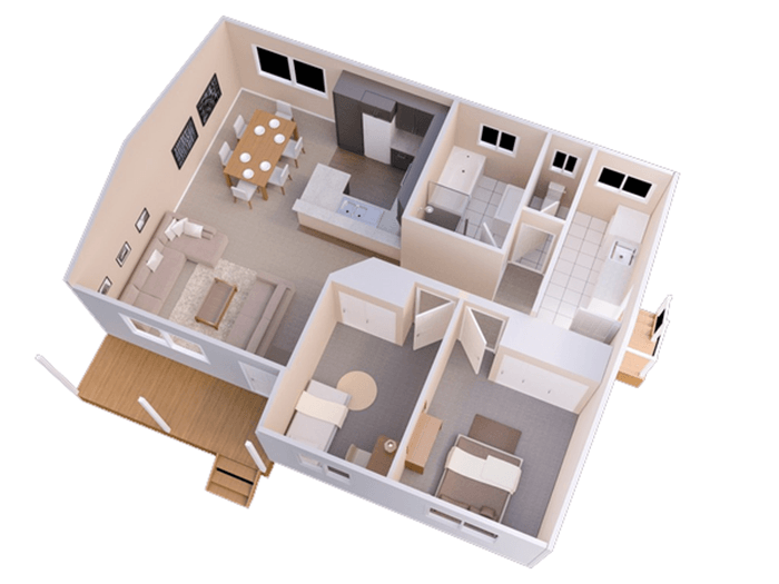 mẫu thiết kế nhà ống 1 tầng 2 phòng ngủ 11
