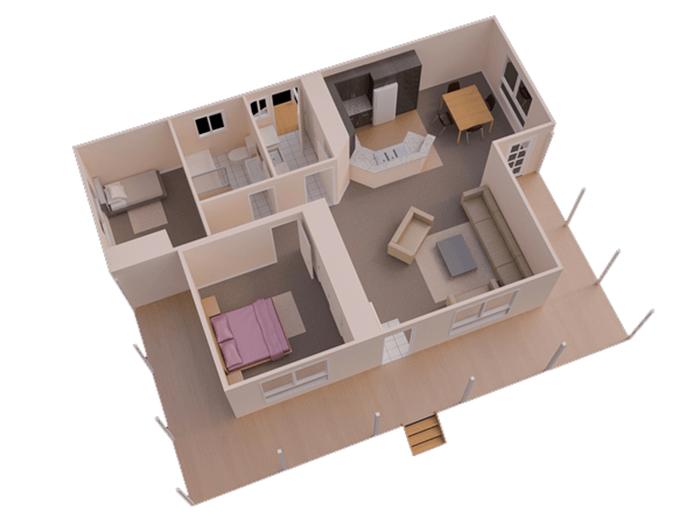 mẫu thiết kế nhà ống 1 tầng 2 phòng ngủ 12