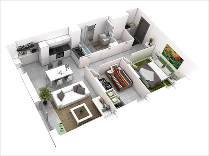 mẫu thiết kế nhà ống 1 tầng 2 phòng ngủ 13