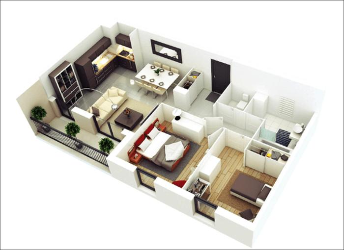 mẫu thiết kế nhà ống 1 tầng 2 phòng ngủ 14