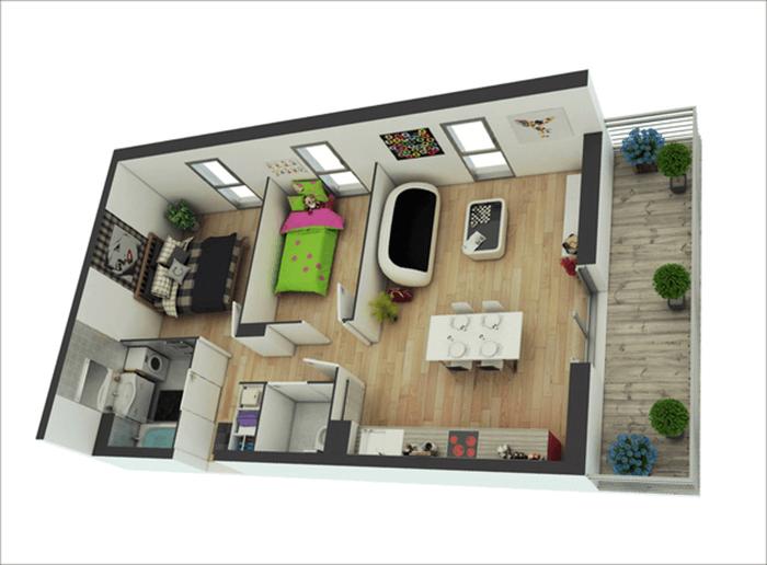 mẫu thiết kế nhà ống 1 tầng 2 phòng ngủ 15
