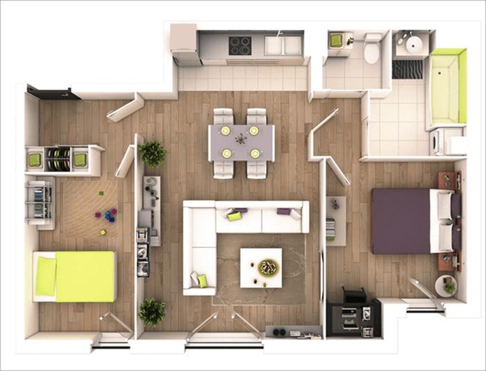 mẫu thiết kế nhà ống 1 tầng 2 phòng ngủ 16