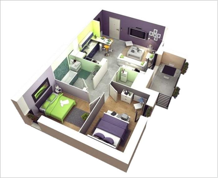 mẫu thiết kế nhà ống 1 tầng 2 phòng ngủ 8