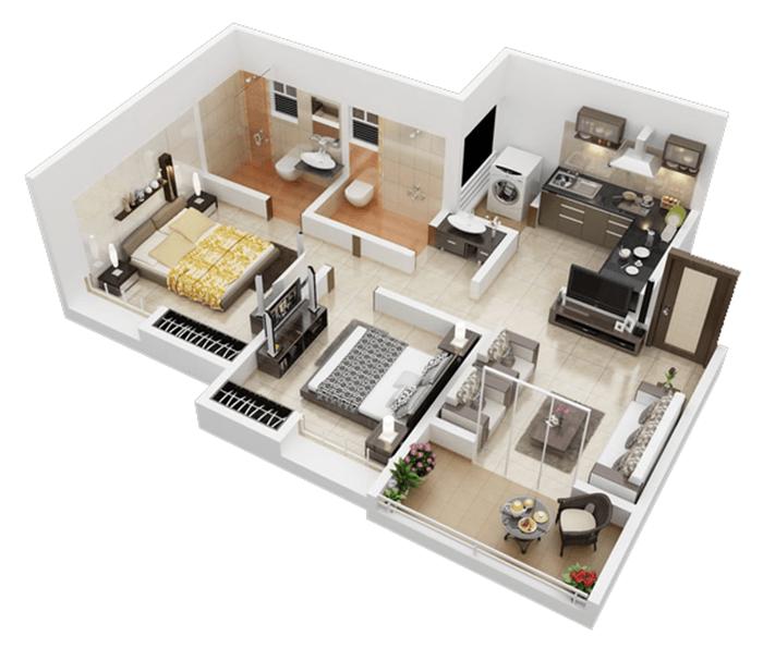 mẫu thiết kế nhà ống 1 tầng 2 phòng ngủ 9