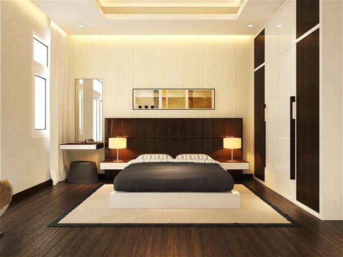 phòng ngủ thiết kế nhà ống 2 tầng 1 tum