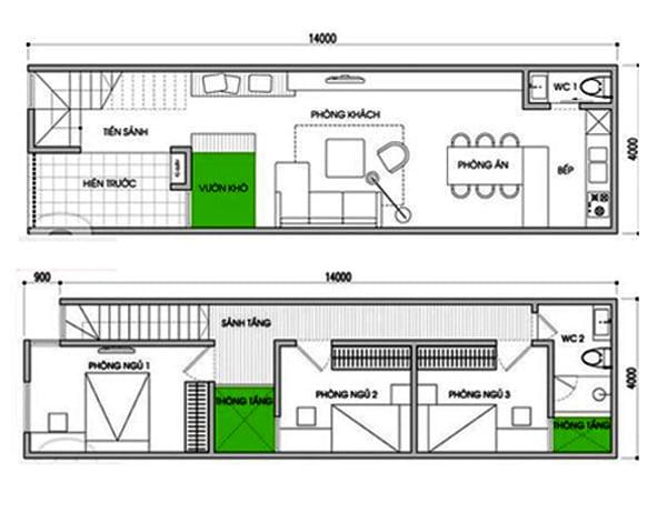 Bản vẽ thiết kế nhà ống 2 tầng 3 phòng ngủ