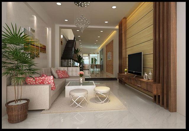 phòng khách thiết kế nhà ống 2 tầng 3 phòng ngủ