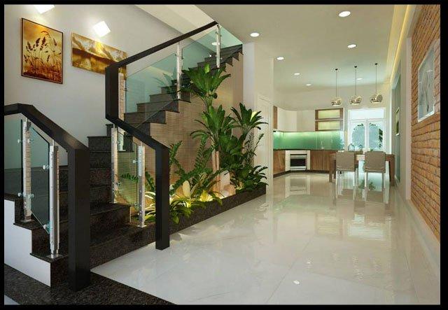 phòng khách, phòng ăn thiết kế nhà ống 2 tầng 3 phòng ngủ