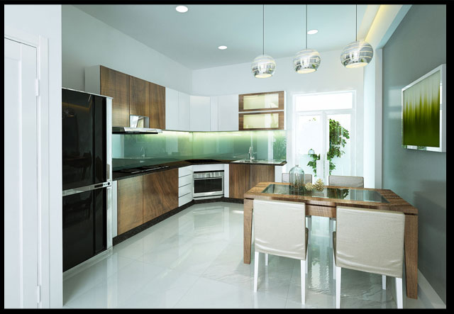 phòng bếp thiết kế nhà ống 2 tầng 3 phòng ngủ