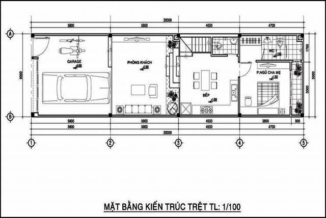 mẫu thiết kế nhà ống 2 tầng 5x20m 2