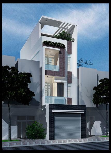 mẫu thiết kế nhà ống 3 tầng 4x15 phong cách hiện đại 2