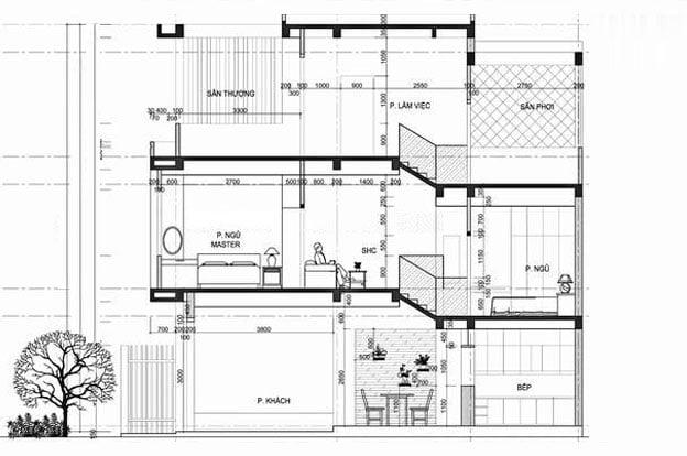 mẫu thiết kế nhà ống lệch tầng 4x15m