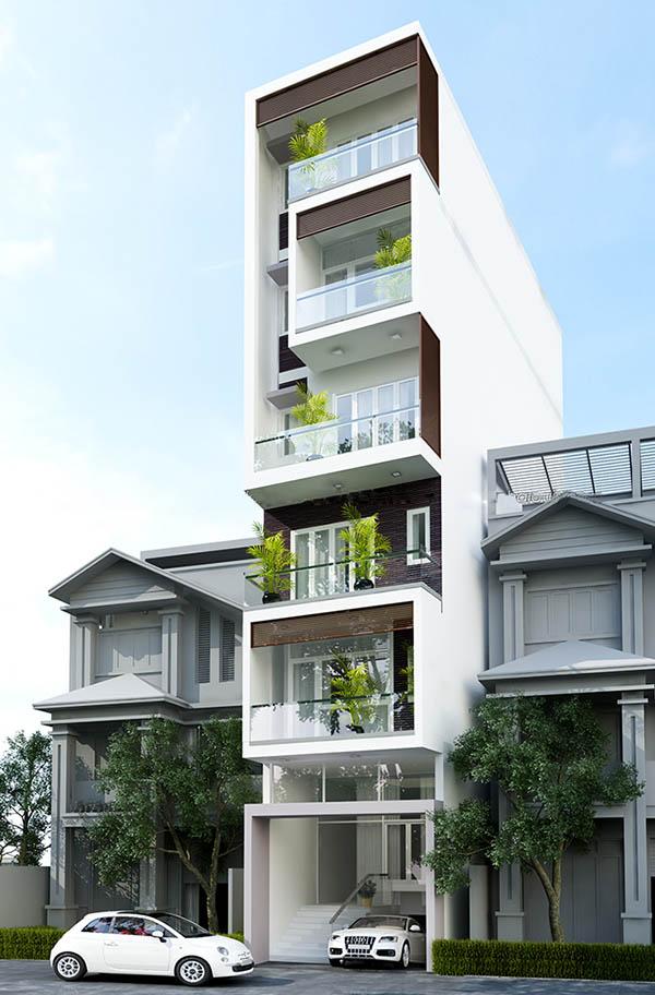 thiết kế nhà phố có gara để xe ô tô hiện đại 1