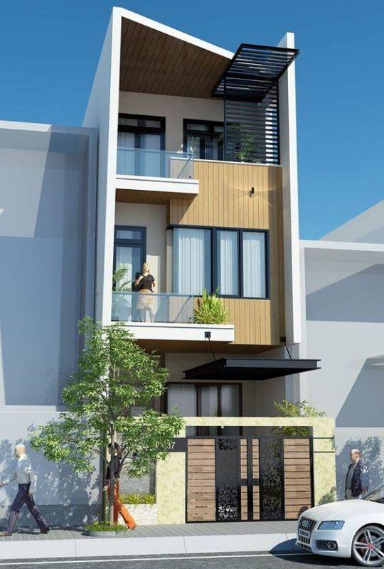 thiết kế nhà phố có gara để xe ô tô hiện đại 12