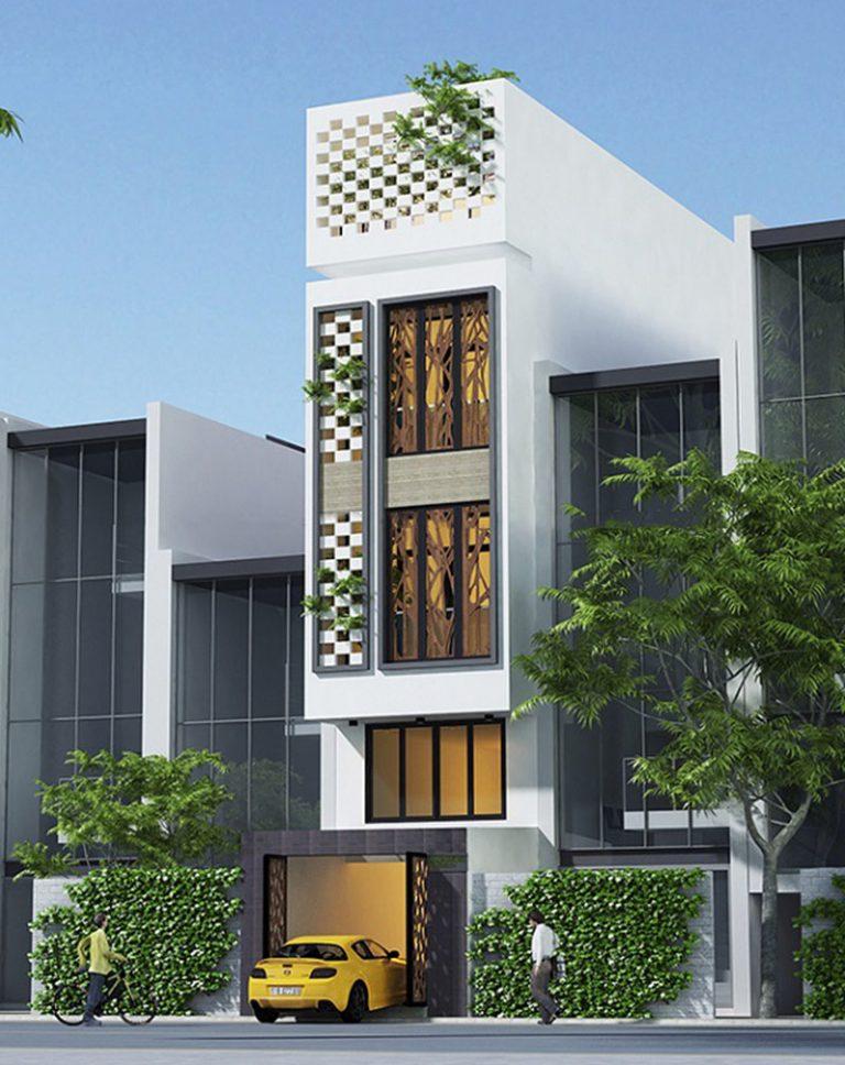 thiết kế nhà phố có gara để xe ô tô hiện đại 15