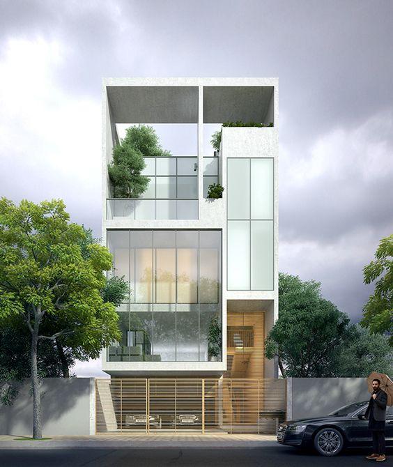 thiết kế nhà phố có gara để xe ô tô hiện đại 16