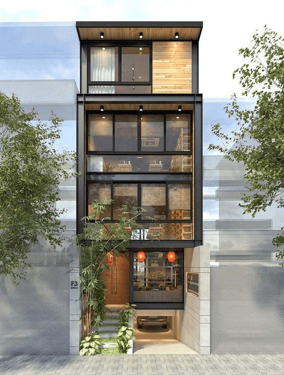 thiết kế nhà phố có gara để xe ô tô hiện đại 18