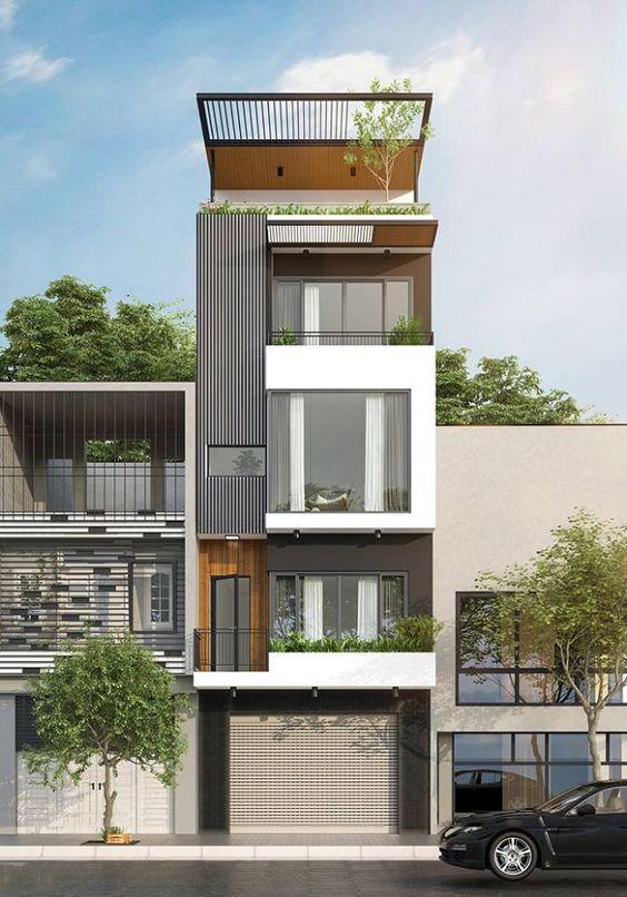 thiết kế nhà phố có gara để xe ô tô hiện đại 19