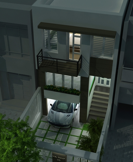 thiết kế nhà phố có gara để xe ô tô hiện đại 2