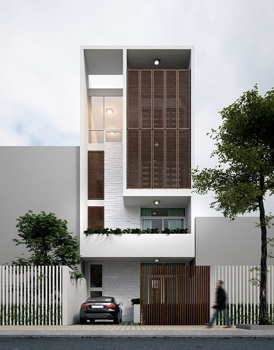 thiết kế nhà phố có gara để xe ô tô hiện đại 21