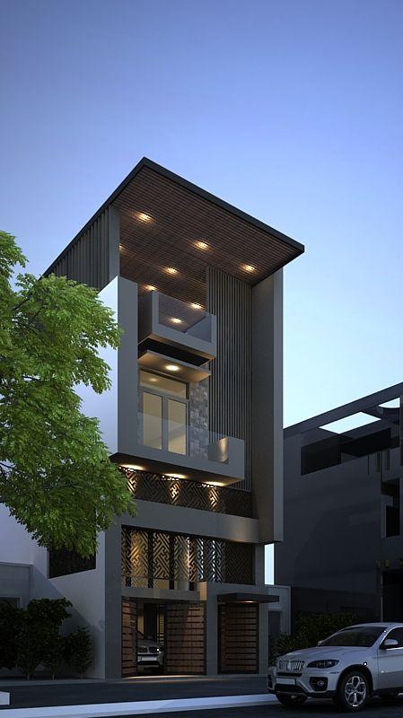 thiết kế nhà phố có gara để xe ô tô hiện đại 4