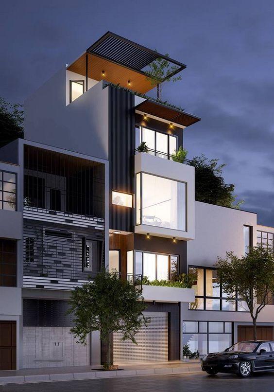 thiết kế nhà phố có gara để xe ô tô hiện đại 5