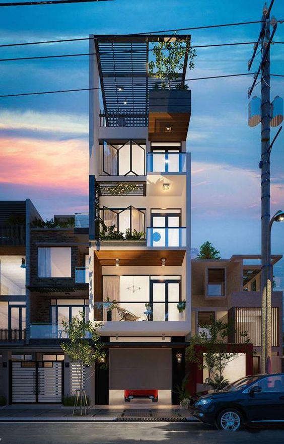 thiết kế nhà phố có gara để xe ô tô hiện đại 6
