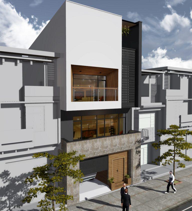 thiết kế nhà phố có gara để xe ô tô hiện đại 9
