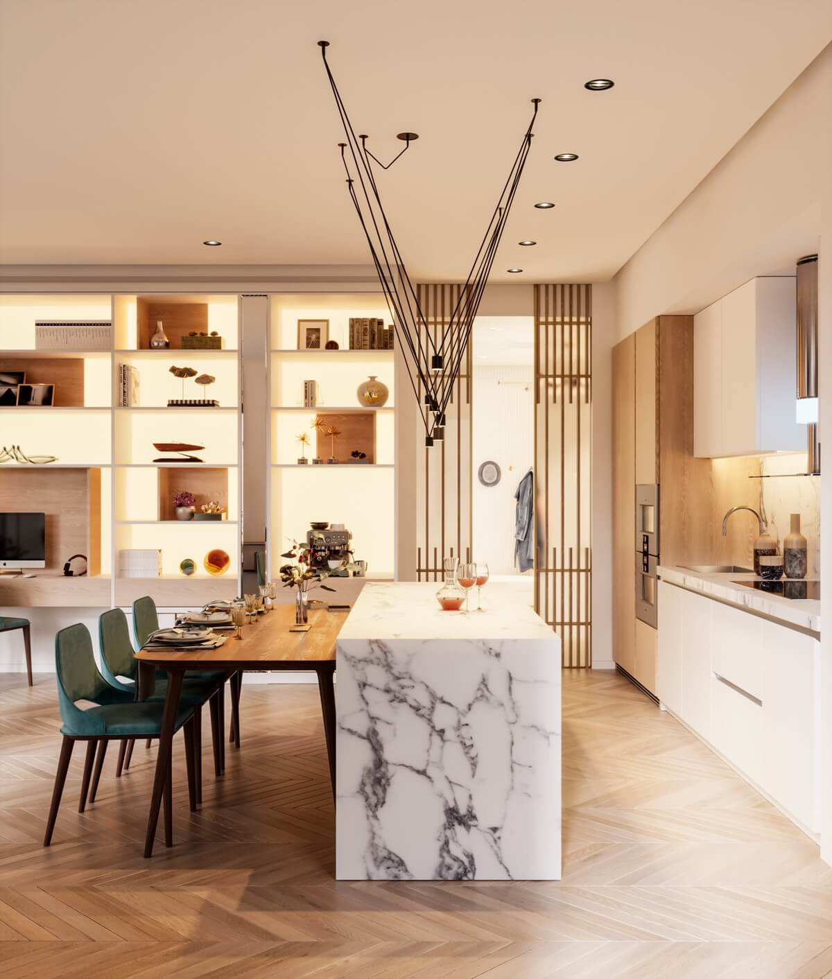 mẫu thiết kế nội thất căn hộ chung cư 80m2 đẹp 13