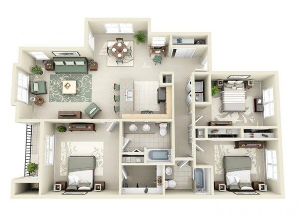 mẫu thiết kế nội thất căn hộ chung cư 80m2 đẹp 1