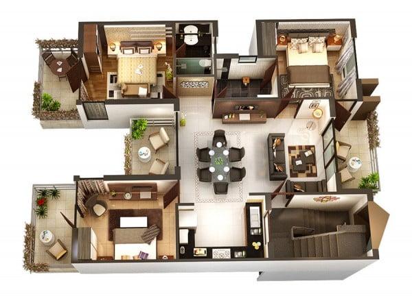 mẫu thiết kế nội thất căn hộ chung cư 80m2 đẹp 2