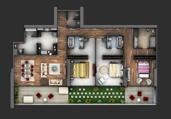 mẫu thiết kế nội thất căn hộ chung cư 80m2 đẹp 3
