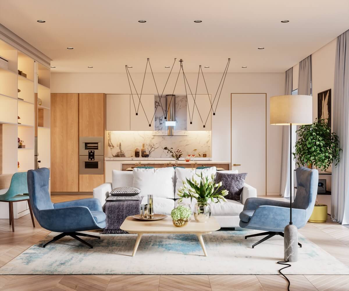 mẫu thiết kế nội thất căn hộ chung cư 80m2 đẹp 8