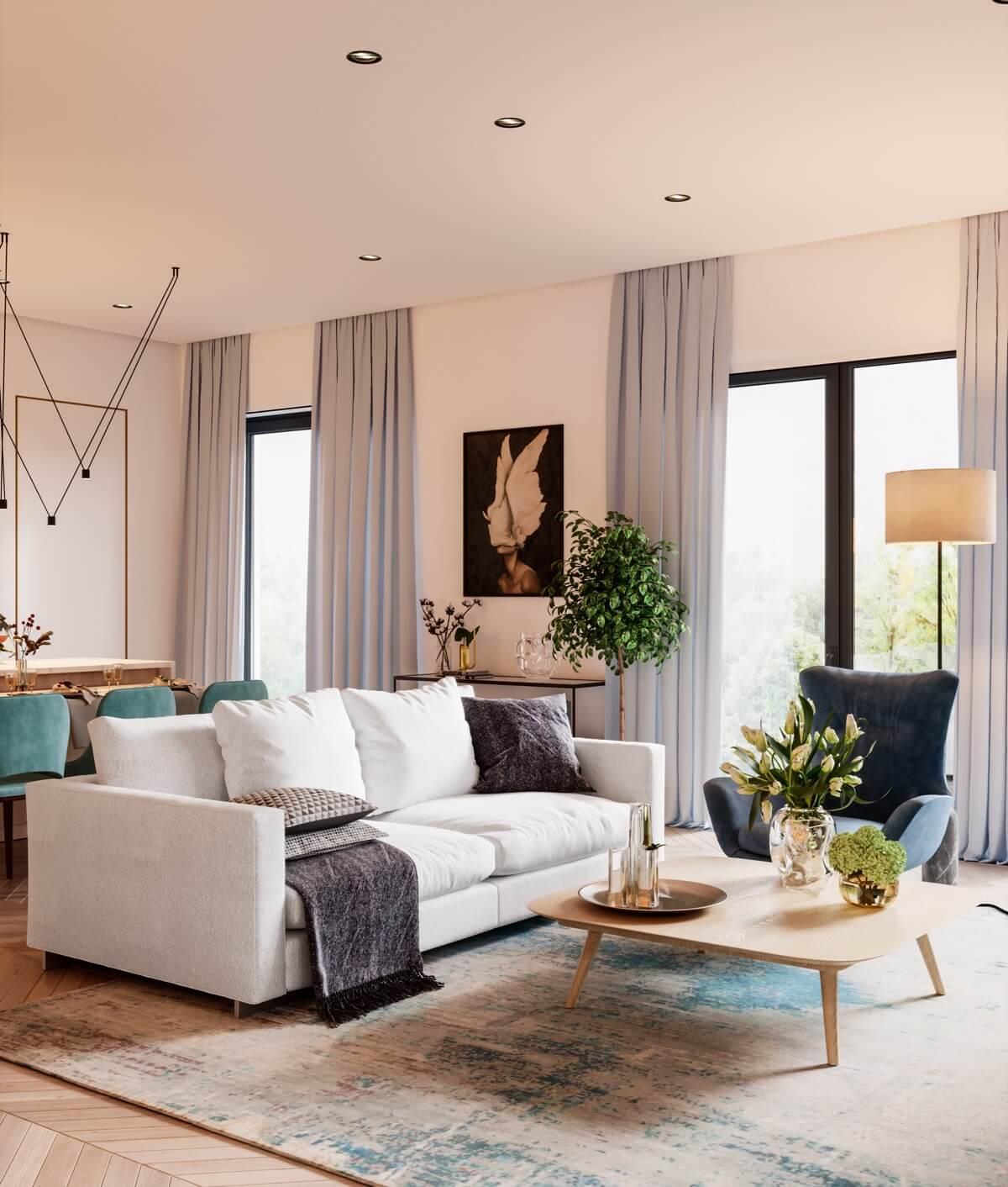 mẫu thiết kế nội thất căn hộ chung cư 80m2 đẹp 9