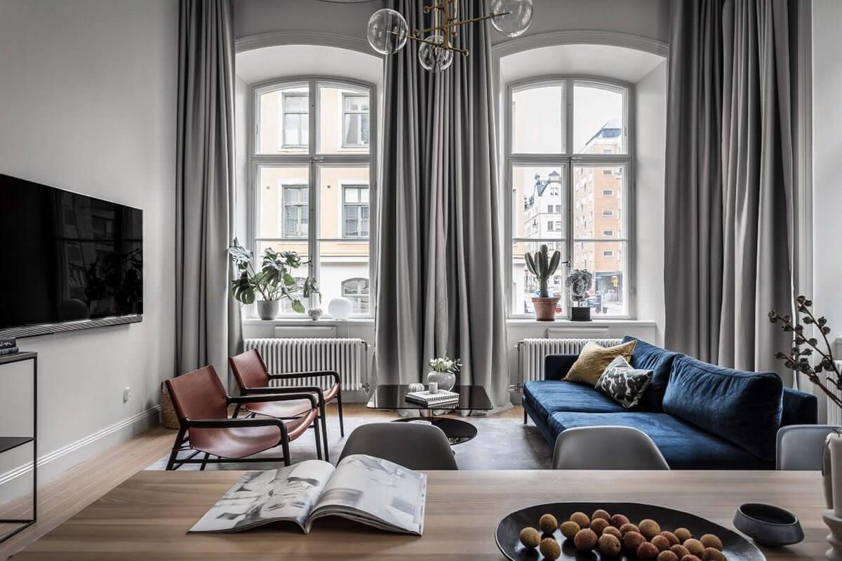mẫu thiết kế nội thất chung cư hiện đại với gam màu xám 1