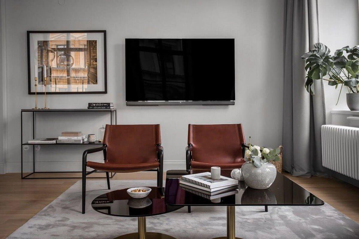 mẫu thiết kế nội thất chung cư hiện đại với gam màu xám 2