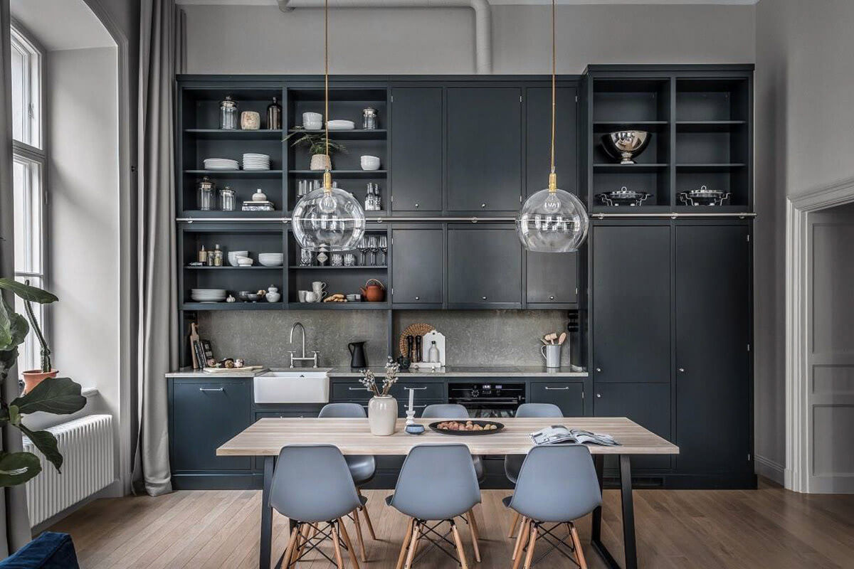 mẫu thiết kế nội thất chung cư hiện đại với gam màu xám 6