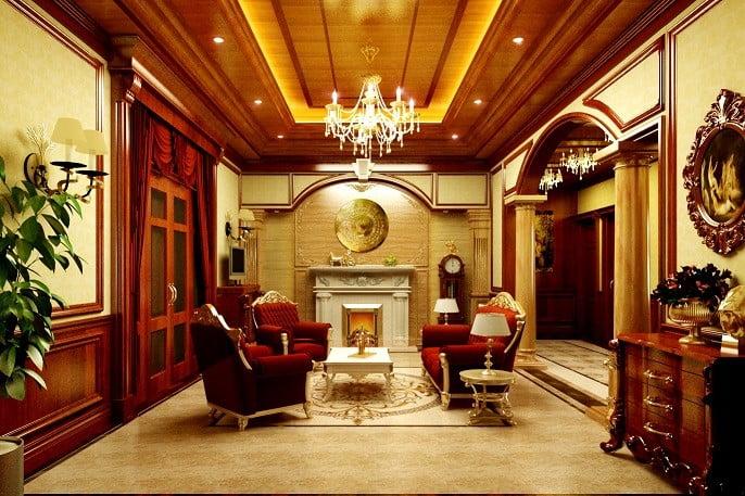 mẫu trần gỗ phòng khách 10