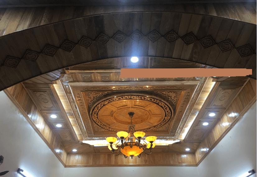 mẫu trần gỗ phòng khách 5